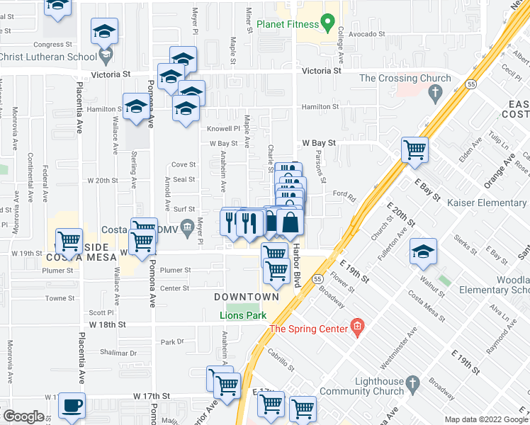 map of restaurants, bars, coffee shops, grocery stores, and more near 537 Bernard Street in Costa Mesa