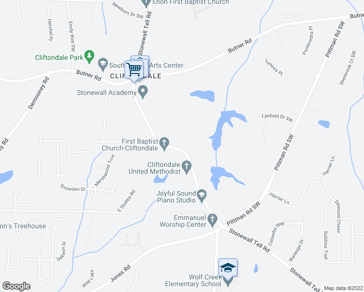 map of restaurants, bars, coffee shops, grocery stores, and more near 4020 Stonewall Tell Road in College Park