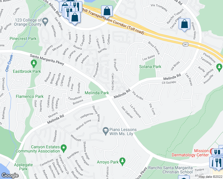 map of restaurants, bars, coffee shops, grocery stores, and more near 97 Camino Del Oro in Rancho Santa Margarita