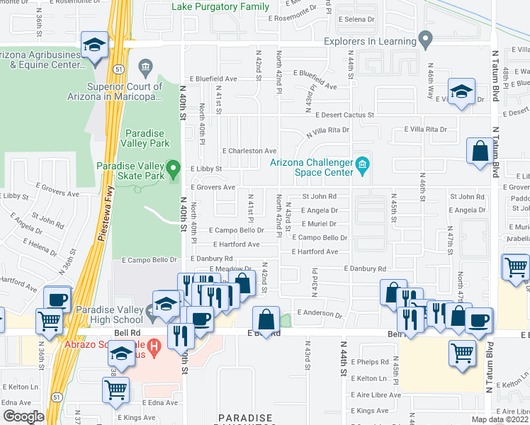 map of restaurants, bars, coffee shops, grocery stores, and more near 17621 N 42nd Pl in Phoenix