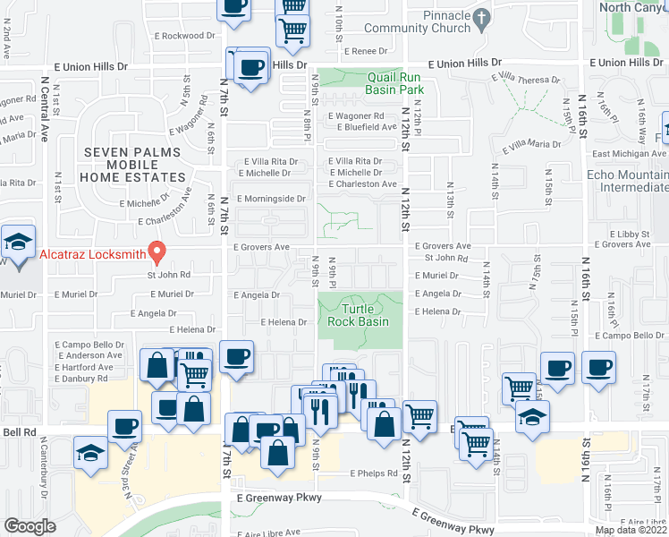 map of restaurants, bars, coffee shops, grocery stores, and more near 17617 North 9th Street in Phoenix