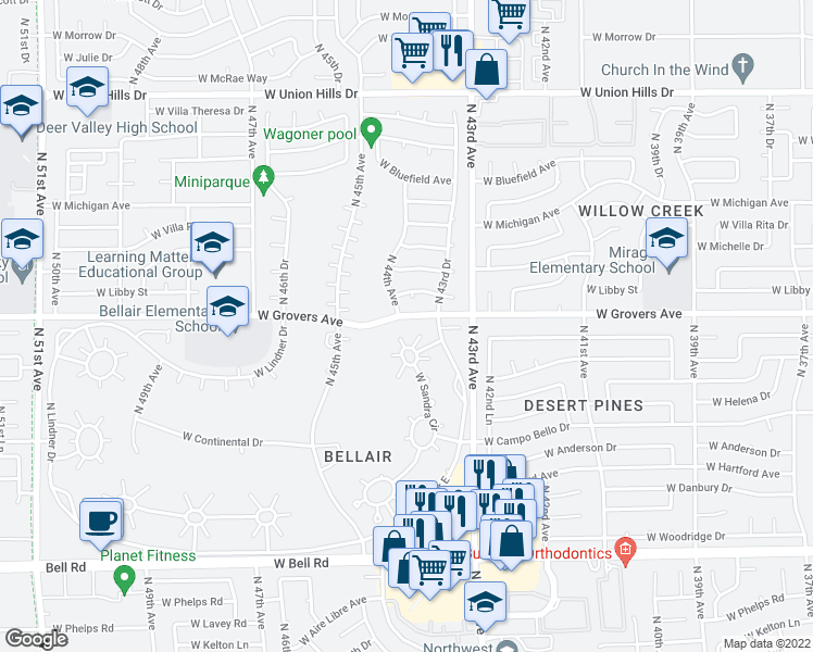 map of restaurants, bars, coffee shops, grocery stores, and more near 4413 West Cathy Circle in Glendale