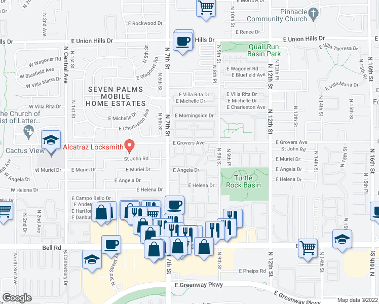 map of restaurants, bars, coffee shops, grocery stores, and more near 17625 North 7th Street in Phoenix