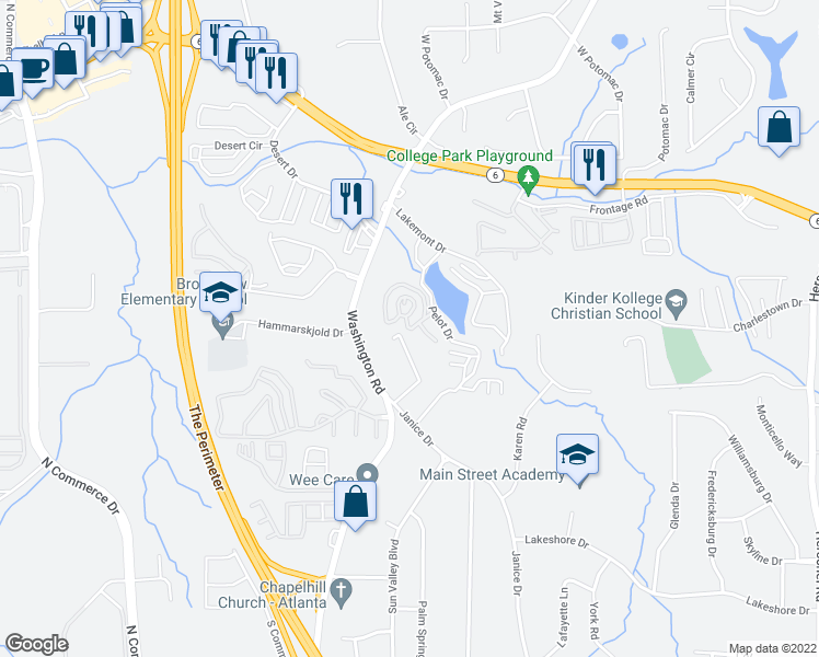 map of restaurants, bars, coffee shops, grocery stores, and more near 4060 Janice Drive in East Point