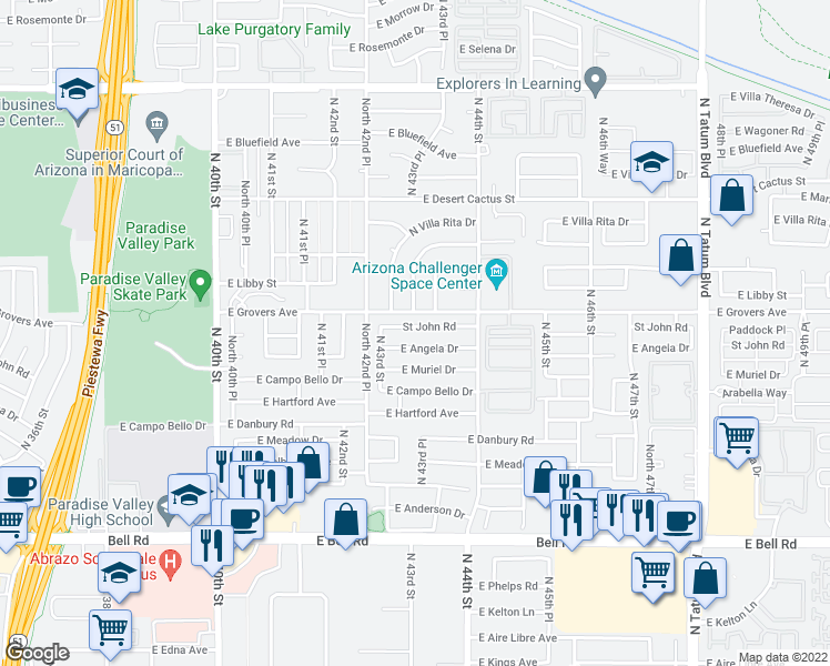 map of restaurants, bars, coffee shops, grocery stores, and more near 4333 East Saint John Road in Phoenix