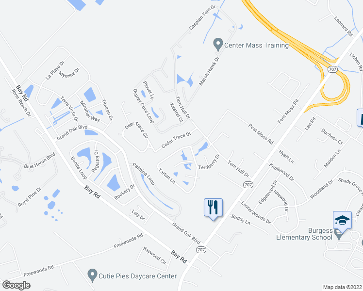 map of restaurants, bars, coffee shops, grocery stores, and more near 8256 Tartan Lane in Myrtle Beach