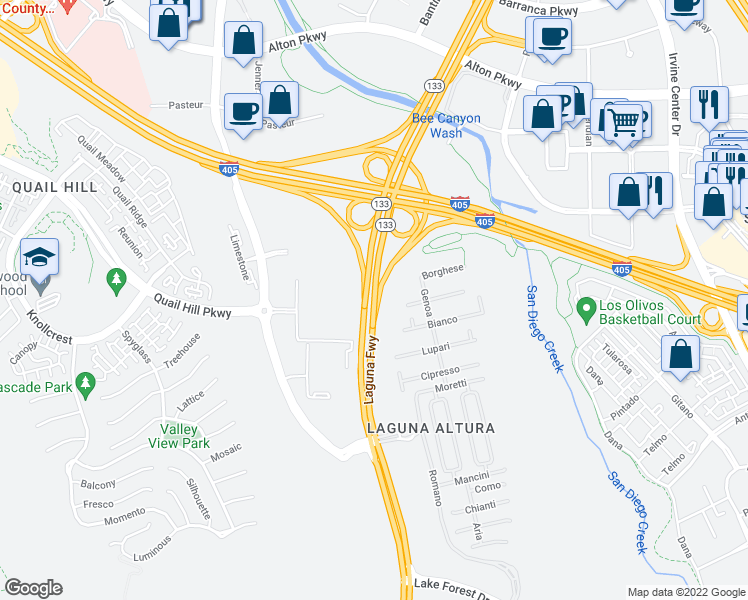 map of restaurants, bars, coffee shops, grocery stores, and more near Laguna Freeway in Irvine