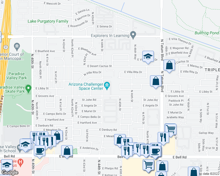 map of restaurants, bars, coffee shops, grocery stores, and more near 17835 North 44th Street in Phoenix