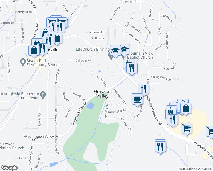 map of restaurants, bars, coffee shops, grocery stores, and more near 2334 Grayson Valley Drive in Birmingham
