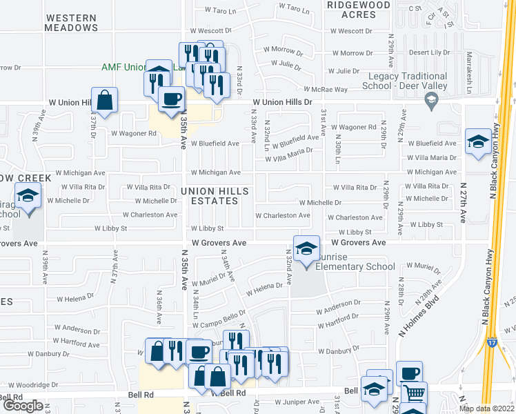map of restaurants, bars, coffee shops, grocery stores, and more near 3257 West Michelle Drive in Phoenix