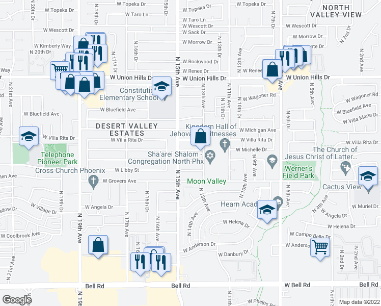 map of restaurants, bars, coffee shops, grocery stores, and more near 1323 West Michelle Drive in Phoenix