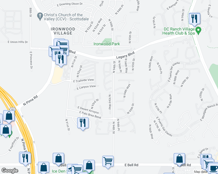 map of restaurants, bars, coffee shops, grocery stores, and more near 9344 East Via De Vaquero Drive in Scottsdale