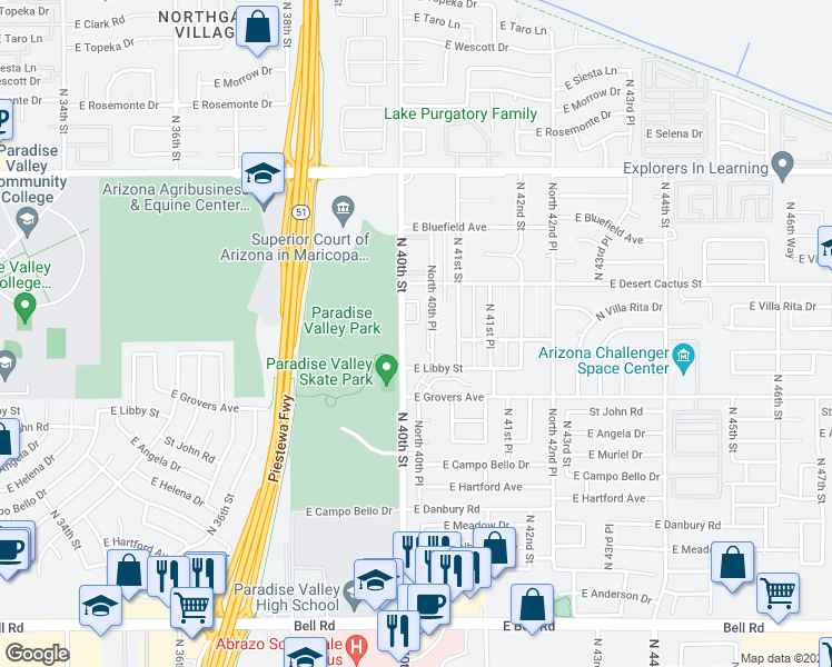 map of restaurants, bars, coffee shops, grocery stores, and more near 17855 North 40th Street in Phoenix