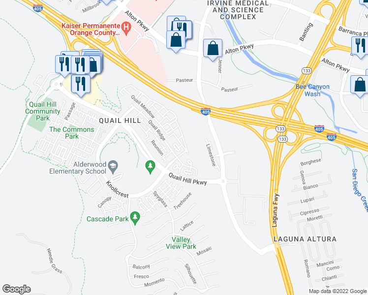 map of restaurants, bars, coffee shops, grocery stores, and more near Rhythm in Irvine