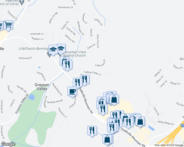 map of restaurants, bars, coffee shops, grocery stores, and more near 5093 Falling Creek Lane in Birmingham