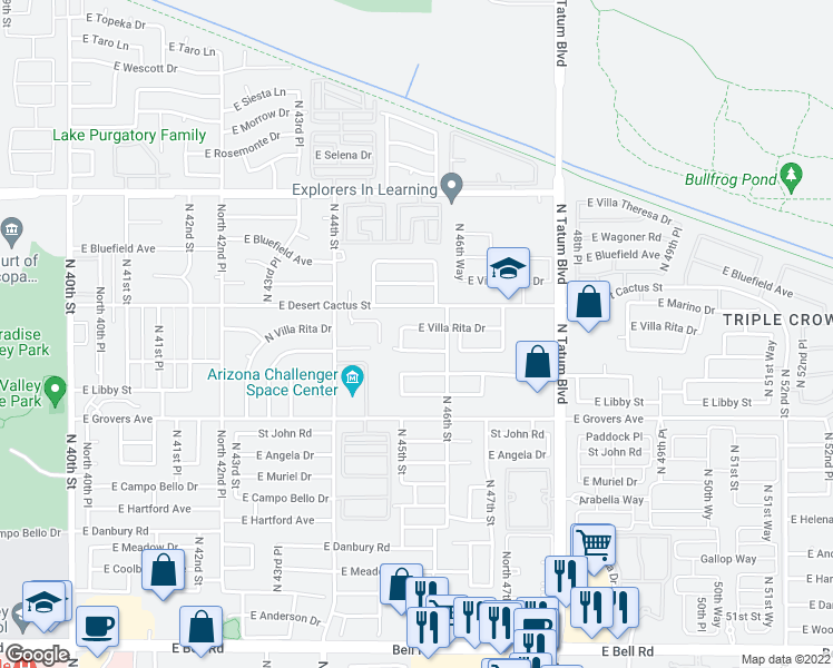 map of restaurants, bars, coffee shops, grocery stores, and more near 4539 East Villa Rita Drive in Phoenix