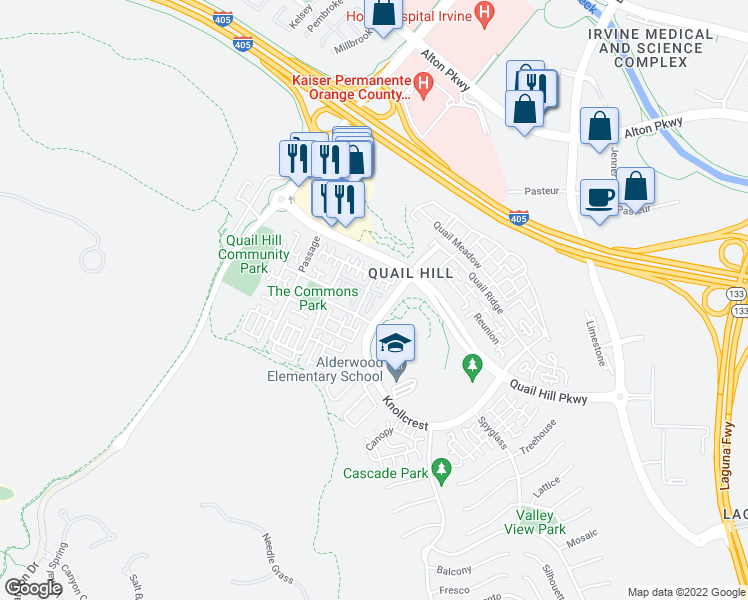 map of restaurants, bars, coffee shops, grocery stores, and more near 64 Dovetail in Irvine