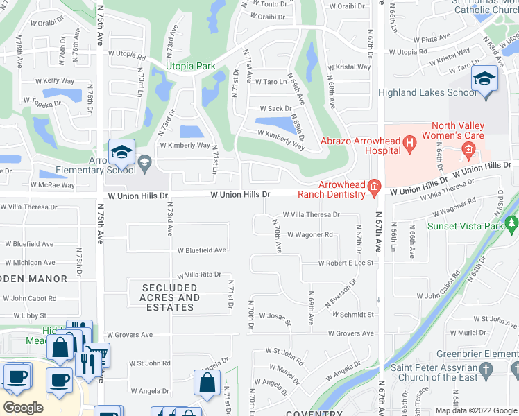 map of restaurants, bars, coffee shops, grocery stores, and more near 7008 West Villa Theresa Drive in Glendale