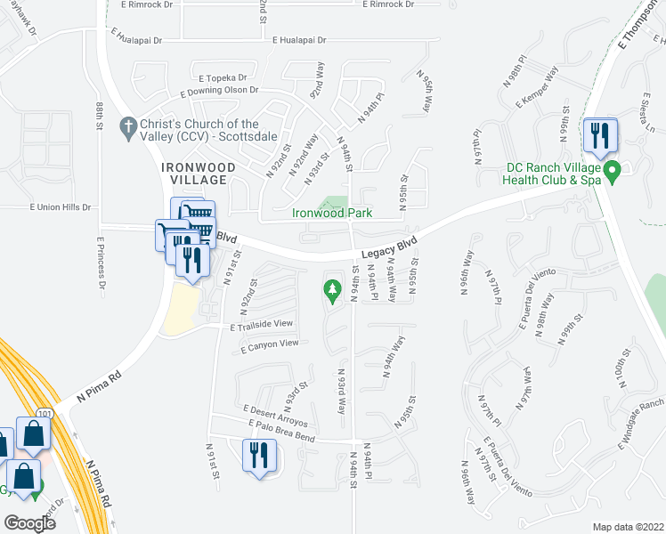 map of restaurants, bars, coffee shops, grocery stores, and more near 9356 East Horseshoe Bend Drive in Scottsdale