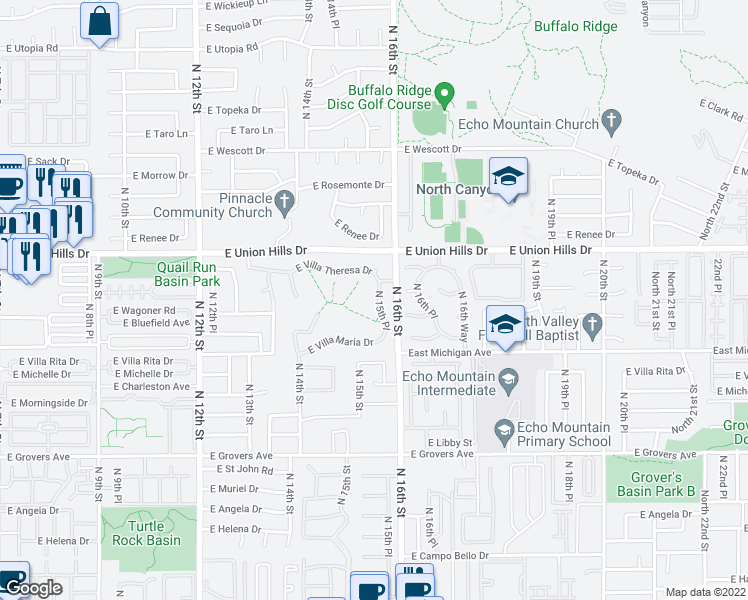 map of restaurants, bars, coffee shops, grocery stores, and more near 18246 North 15th Place in Phoenix