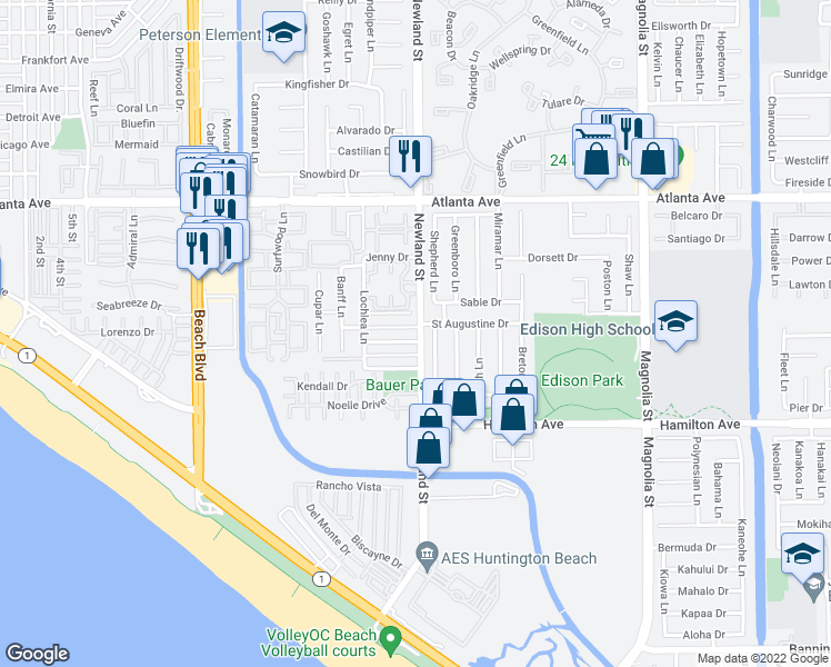 map of restaurants, bars, coffee shops, grocery stores, and more near 8491 Doncaster Drive in Huntington Beach