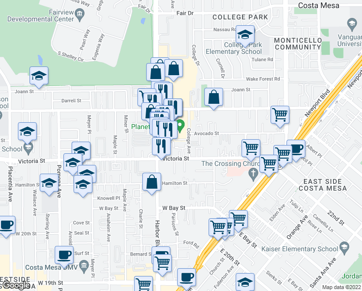 map of restaurants, bars, coffee shops, grocery stores, and more near 400 Brighton Springs in Costa Mesa