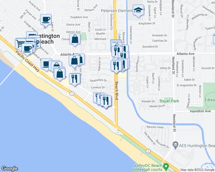 map of restaurants, bars, coffee shops, grocery stores, and more near 21270 Lorca Circle in Huntington Beach