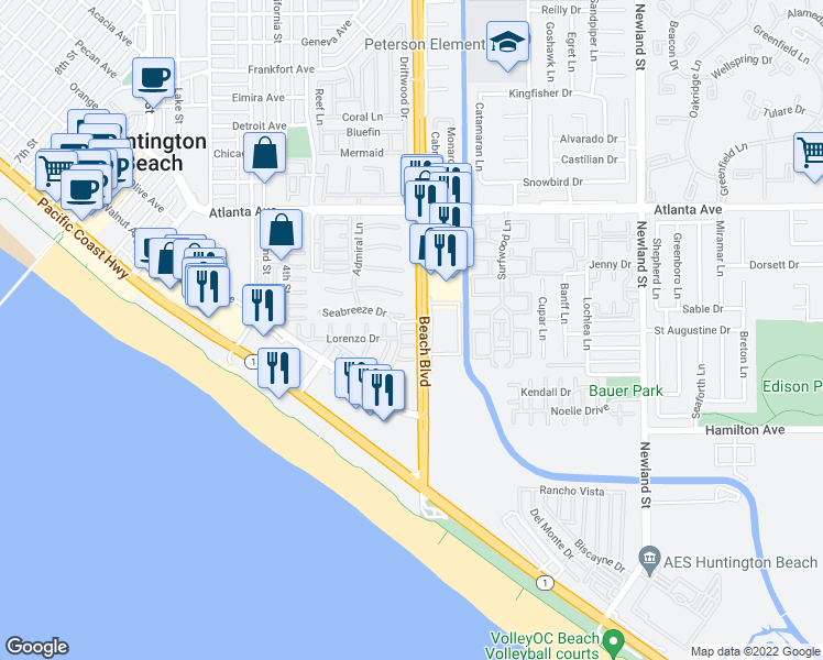 map of restaurants, bars, coffee shops, grocery stores, and more near 7988 Aldea Circle in Huntington Beach