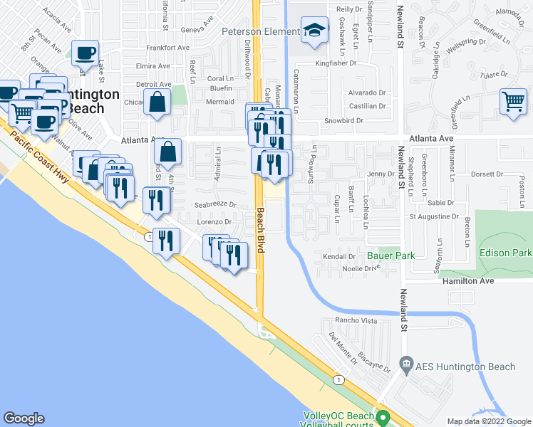 map of restaurants, bars, coffee shops, grocery stores, and more near Sunrise Drive in Huntington Beach