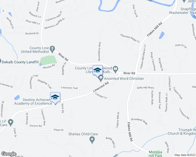 map of restaurants, bars, coffee shops, grocery stores, and more near 3800 Linecrest Road in Ellenwood