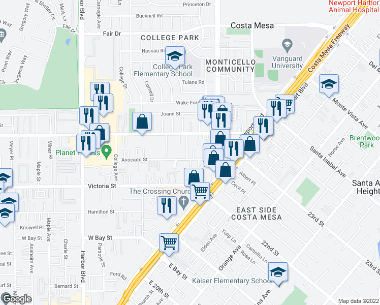 map of restaurants, bars, coffee shops, grocery stores, and more near 2214 Avalon Street in Costa Mesa