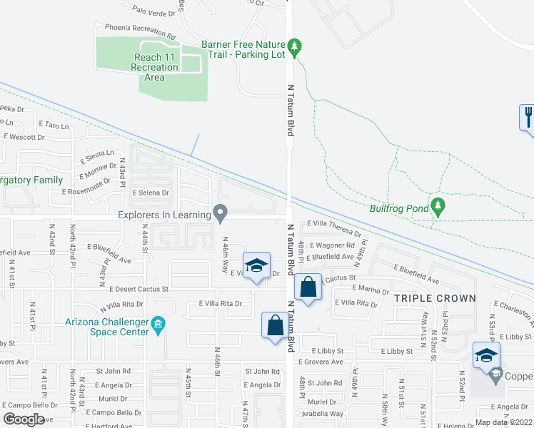map of restaurants, bars, coffee shops, grocery stores, and more near 4750 East Union Hills Drive in Phoenix