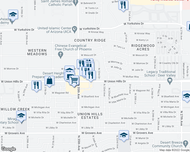 map of restaurants, bars, coffee shops, grocery stores, and more near 18615 North 34th Avenue in Phoenix