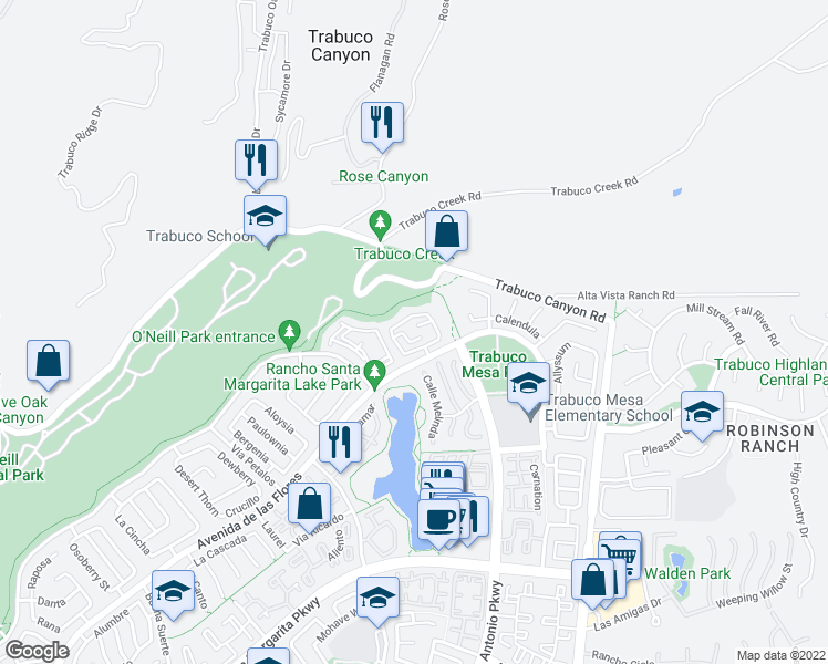 map of restaurants, bars, coffee shops, grocery stores, and more near 15 Vista Mesa in Rancho Santa Margarita