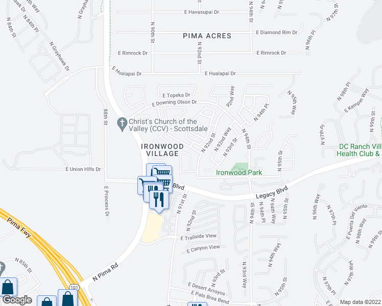 map of restaurants, bars, coffee shops, grocery stores, and more near 18797 North 91st Place in Scottsdale