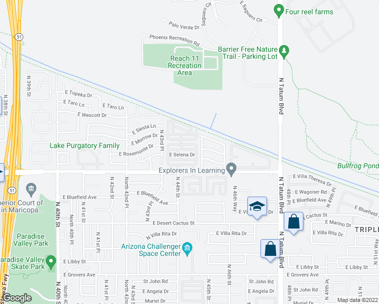 map of restaurants, bars, coffee shops, grocery stores, and more near 4382 East Selena Drive in Phoenix