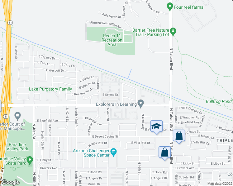 map of restaurants, bars, coffee shops, grocery stores, and more near 4386 East Selena Drive in Phoenix