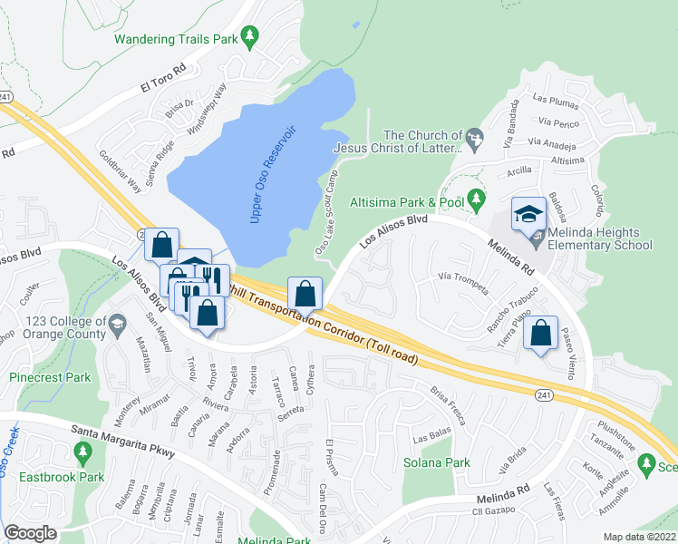 map of restaurants, bars, coffee shops, grocery stores, and more near Oso Lake Scout Camp in Mission Viejo