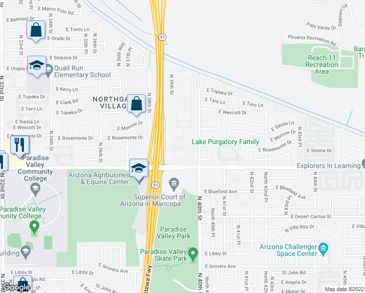 map of restaurants, bars, coffee shops, grocery stores, and more near 3918 East Rockwood Drive in Phoenix