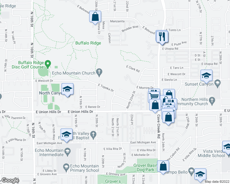 map of restaurants, bars, coffee shops, grocery stores, and more near North 21st Street in Phoenix