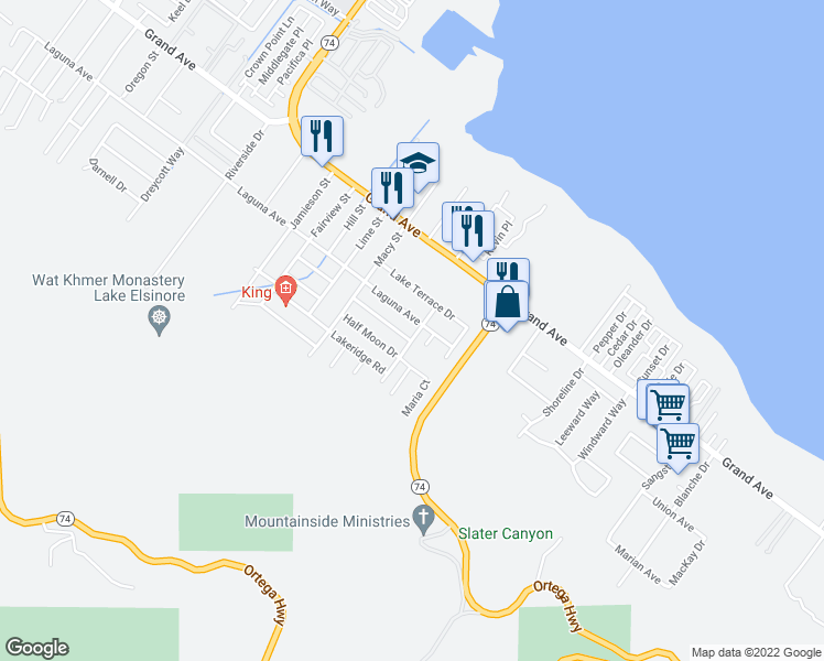 map of restaurants, bars, coffee shops, grocery stores, and more near Grandview Avenue in Lake Elsinore
