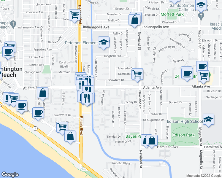 map of restaurants, bars, coffee shops, grocery stores, and more near 8234 Atlanta Avenue in Huntington Beach