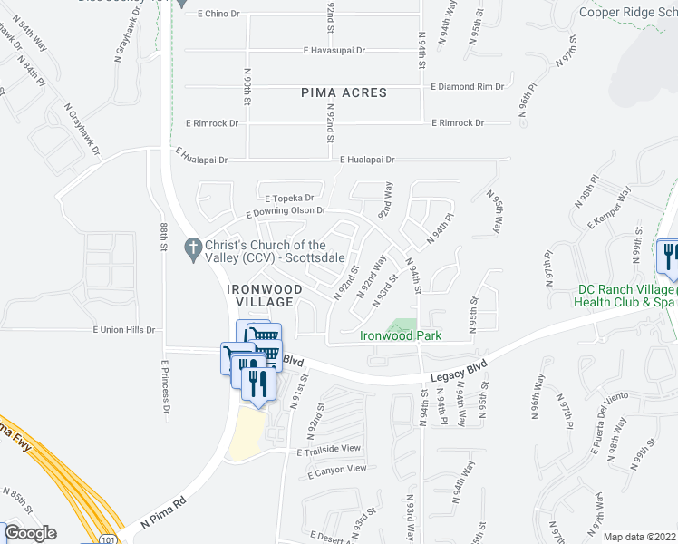map of restaurants, bars, coffee shops, grocery stores, and more near 9190 East Kimberly Way in Scottsdale