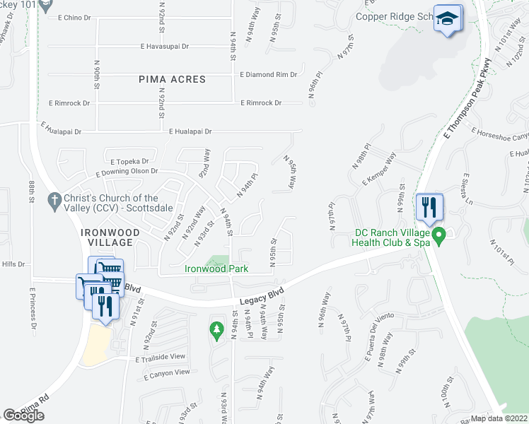 map of restaurants, bars, coffee shops, grocery stores, and more near 18943 North 94th Way in Scottsdale