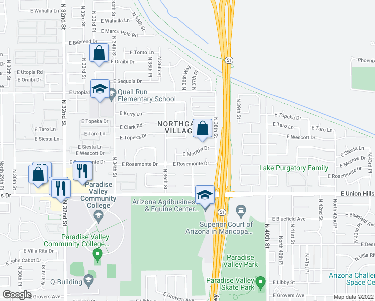 map of restaurants, bars, coffee shops, grocery stores, and more near 12830 N 36th Way in Phoenix