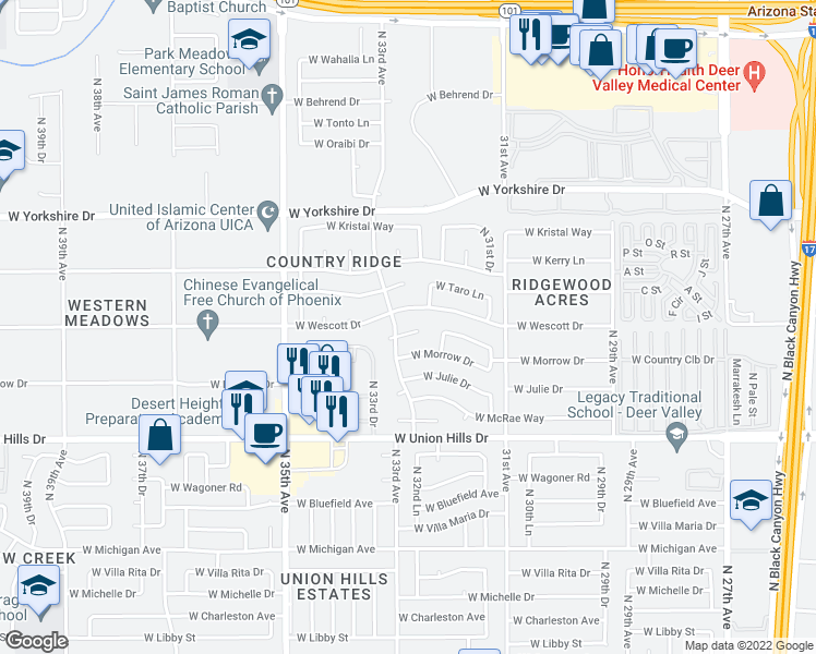 map of restaurants, bars, coffee shops, grocery stores, and more near 3226 West Kimberly Way in Phoenix
