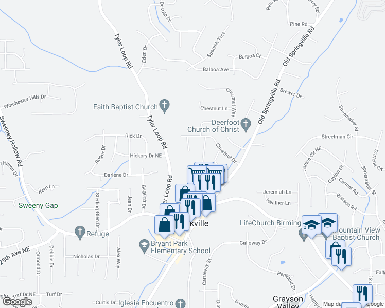 map of restaurants, bars, coffee shops, grocery stores, and more near 2503 Timber Trail in Pinson