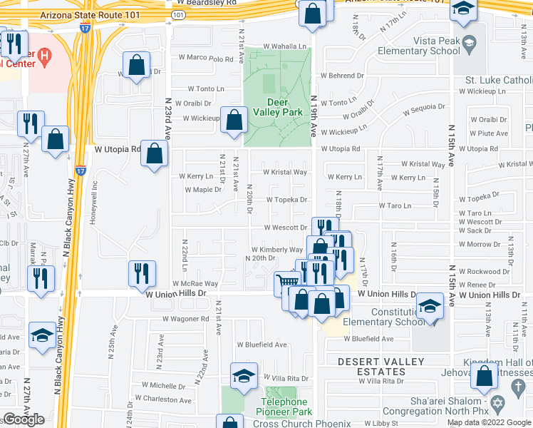 map of restaurants, bars, coffee shops, grocery stores, and more near 19018 North 20th Avenue in Phoenix