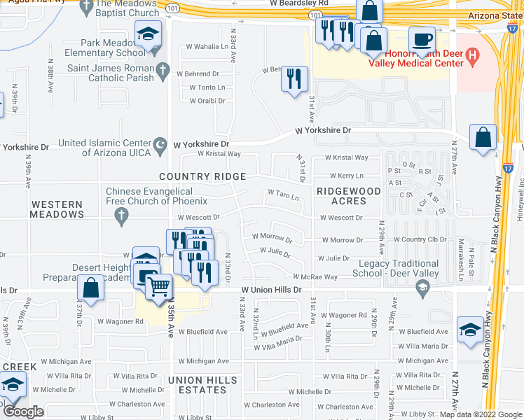 map of restaurants, bars, coffee shops, grocery stores, and more near 3213 West Wescott Drive in Phoenix