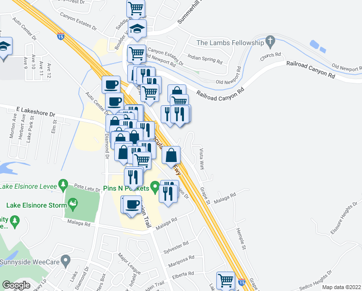 map of restaurants, bars, coffee shops, grocery stores, and more near 15325 Oak Tree Drive in Lake Elsinore